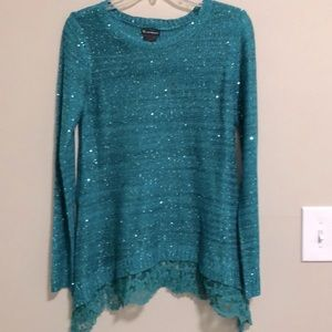 new directions Sweater Sequined Tunic SZ M…